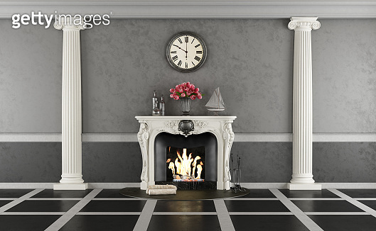 Living room in classic style with fireplace
