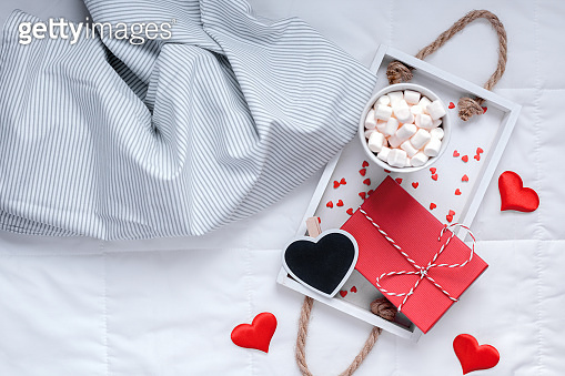 Romantic breakfast in bed. Valentine concept