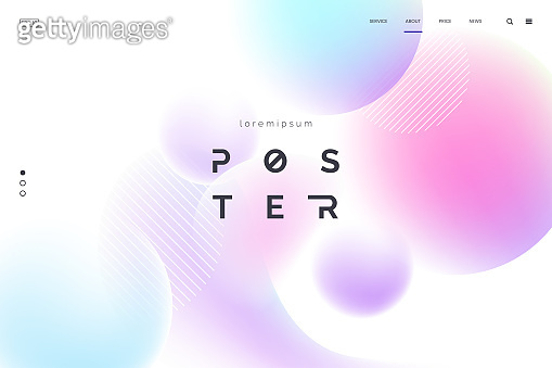 Vector background with abstract neon shapes in gradient pastel colors. Poster with blurred effect. Asymmetric composition. Applicable for landing page, invitation, advertisement. Eps 10