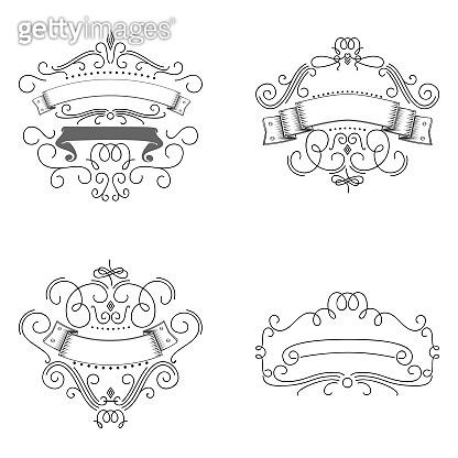 Set of hand drawn flourish elements. Vector illustration. Elements of decoration