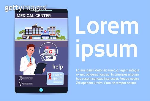 Hand Hold Smart Phone Using Online Doctor App Over Hospital