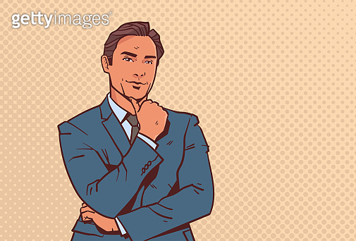 businessman hold hand finger on chin business man pondering male cartoon character portrait pop art style horizontal