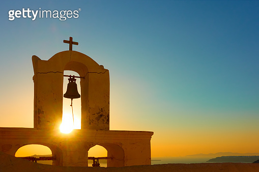 The belfry of old church in Santorini