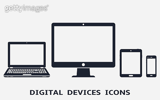 Device icons - desktop computer, laptop, smart phone and tablet