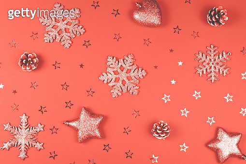 Christmas background with glitter accessories.