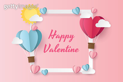 illustration of love and valentine day with balloon heart, sun and clouds. Paper cut style. Vector illustration