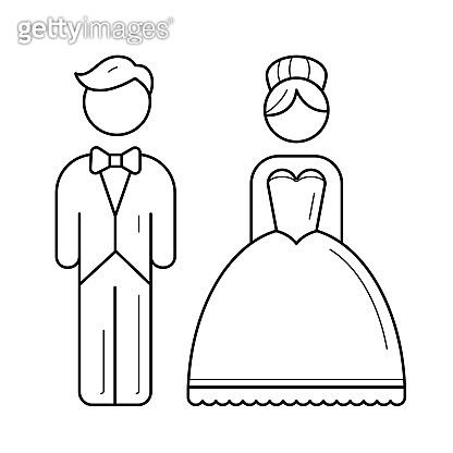 Bride and groom vector line icon