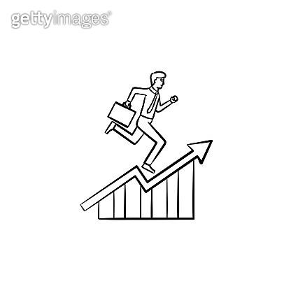 Employee running up hand drawn sketch icon