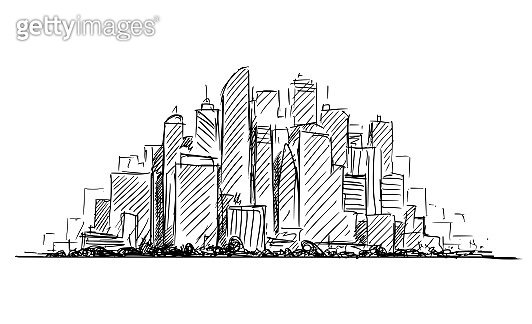 Vector Artistic Drawing Sketch of Generic City High Rise Cityscape Landscape with Skyscraper Buildings