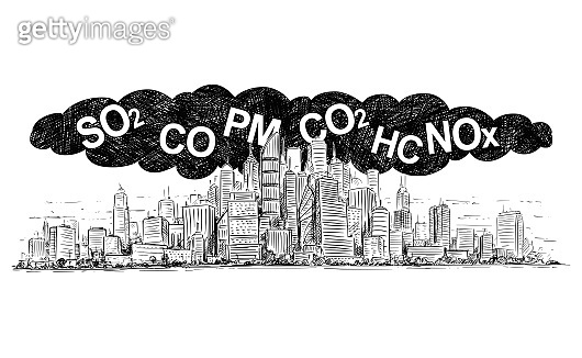 Vector Artistic Drawing Illustration of City Covered by Smoke and Air Pollution