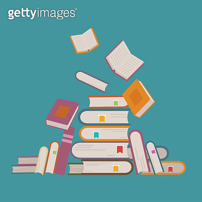 Vector illustration with pile of books and flying up. Learning and education concept.