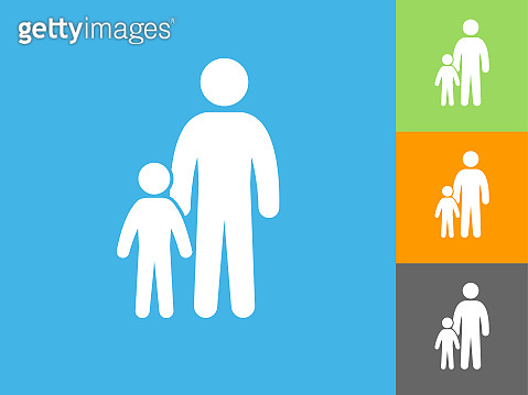 Family  Flat Icon on Blue Background