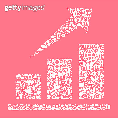 Stock Market  Women's Rights and Girl Power Icon Pattern