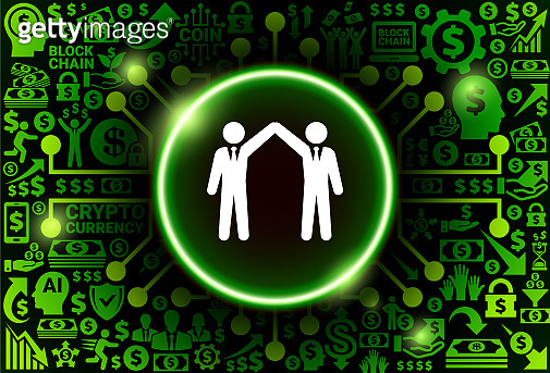 Business Partnership  Icon on Money and Cryptocurrency Background