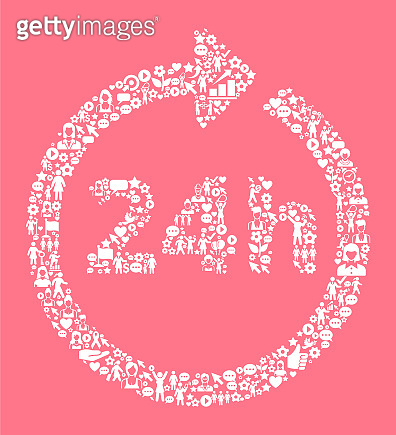 24 Hour Service  Women's Rights and Girl Power Icon Pattern