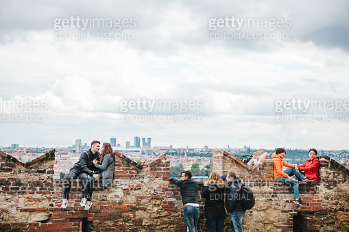 Prague, September 18, 2017: People on the observation deck admire the beautiful views of the city and communicate. Prague is one of the favorite cities for tourists
