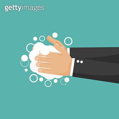 Washing hand vector flat icon