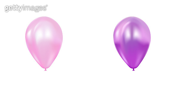 Abstract 3d realistic  flying balloon set. Greeting card, banner, poster. Pink and purple concept.
