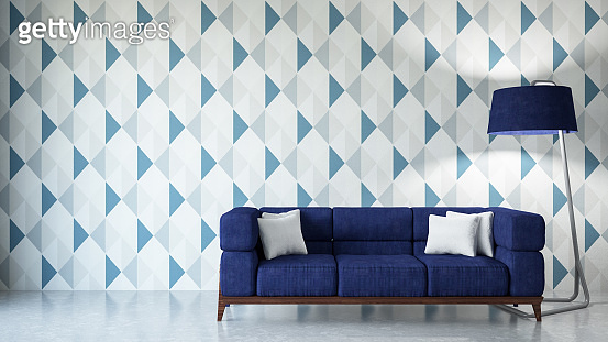Modern Living Room with Sofa and Geometric Wallpaper