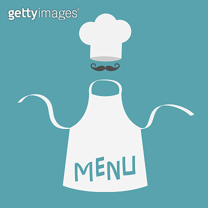 White blank kitchen cotton apron. Chef hat and big mustaches. Menu card template. Uniform for cook or baker. Cooking icon set. Flat design. Blue background. Isolated.
