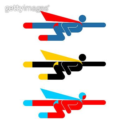Superhero Pictogram set. Super hero sign symbol. Man flying icon. guy Incredible Abilities. Vector illustration