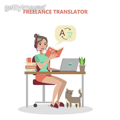 Isolated freelance translator.