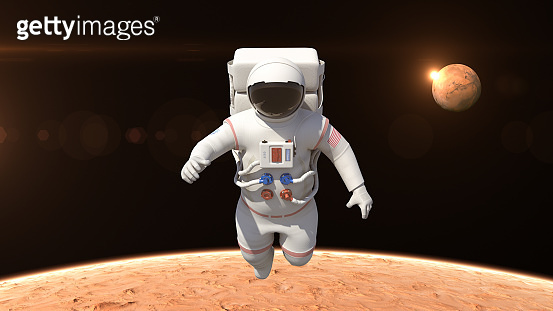 Astronaut Flying Over The Mars Surface - Made Up Logo On Suit