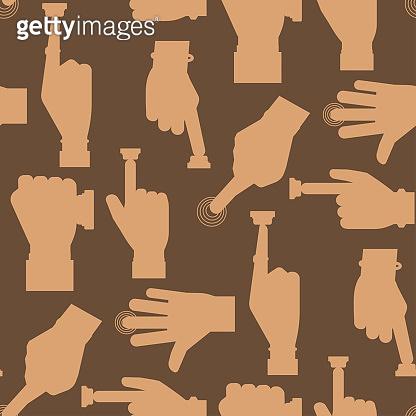 Hand press red button vector finger control start up arm push pointer cursor target gesture internet human body part seamless pattern background illustration
