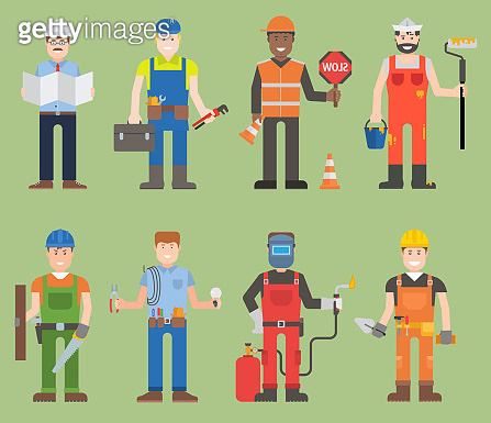 Construction worker wearing mechanic people yellow helmet and overall work clothes working with different tools set of workers man character with instruments person professional workers man