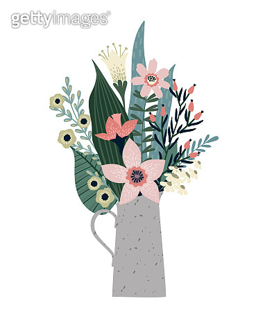 Vector illustration bouquet of flowers. Design template for card, poster, flyer.