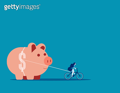 Businesswoman and piggy bank. Concept business vector illustration, Assistance, Pulling, Saving.