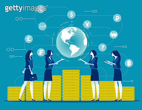 Global financial. Concept business finance vector illustration, Currency, Investor and Money, Flat business cartoon character style design.