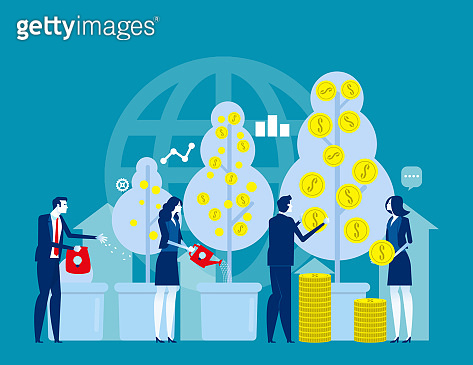 Starting business. Concept business vector illustration, Marketing, Achievment, Successful