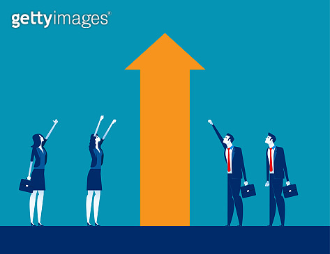 Business investment and Growth. Concept business vector illustration, Moving Up, Happiness, Successful.