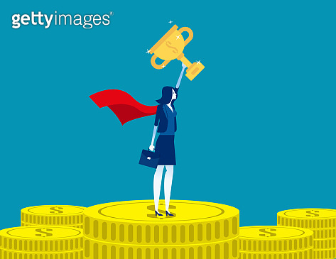 Leader woman stand on gold coins. Concept business successful vector illustration, Finance and Economy