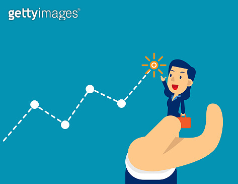 Supporter to successful. Concept cute business vector illustration, Teamwork, Partnership, Friendship.