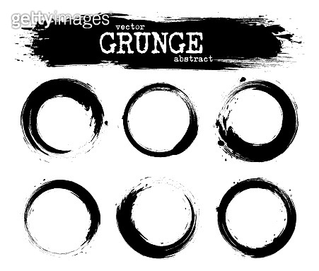 Set of abstract grunge circle shapes . Vector
