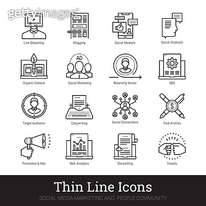 Social media, digital marketing, people community linear icons. Vector clip art collection isolated on white background.