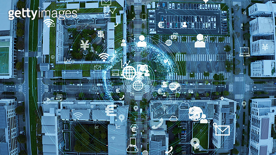 Smart city and communication network concept. IoT (Internet of Things). 5G. Wireless communication.