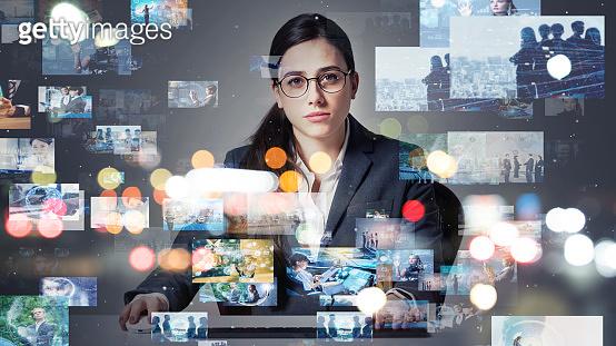 Screens of multimedia concept. Social media. Streaming video.
