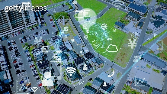 IoT (Internet of Things) concept. Communication network.