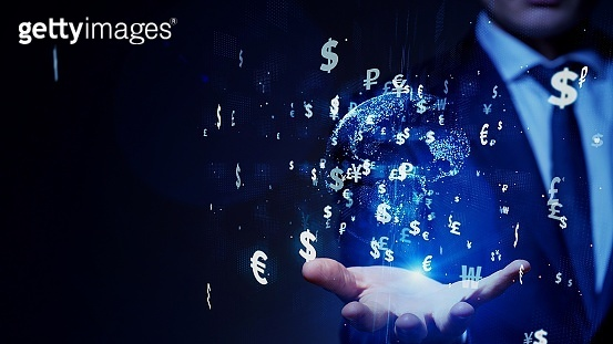 Financial technology concept. Fintech. Crypto currency. Electronic money. Cashless payment.