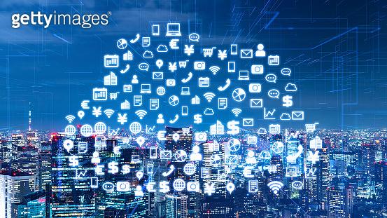 Communication network concept. Cloud computing. Smart city.