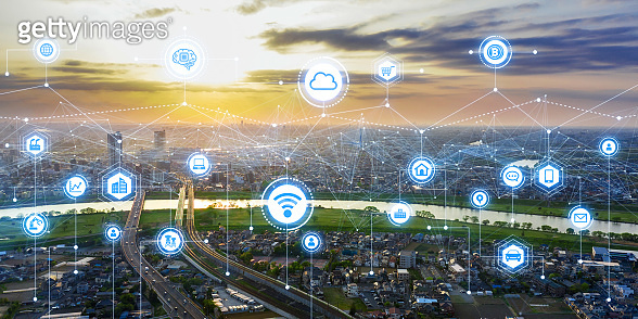 Communication network concept. Smart city.