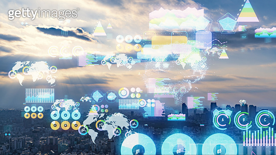 Smart city and statistics concept. IoT (Internet of Things).