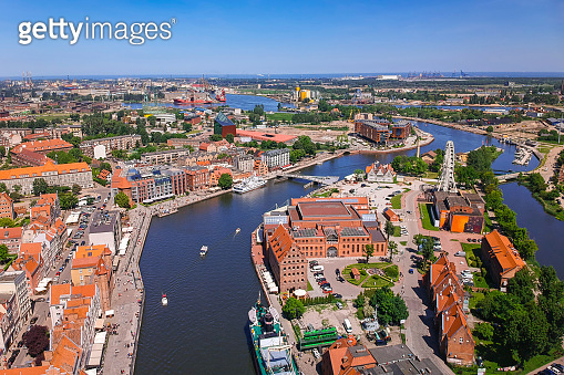 Aerial view of Gdansk old town in summer scenery