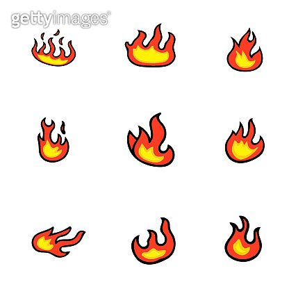 Fire flames, set