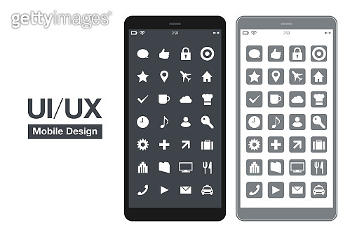 Smartphone device outline vector isolated icon. UI / UX design smart phone app screen. modern cellphone images