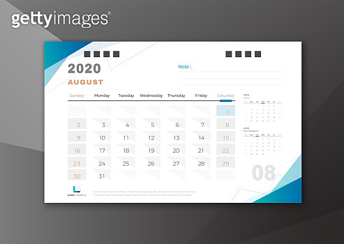 2020 August desk calendar white blue theme