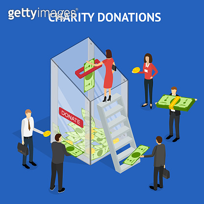 Charity Donation Funding Concept 3d Isometric View. Vector